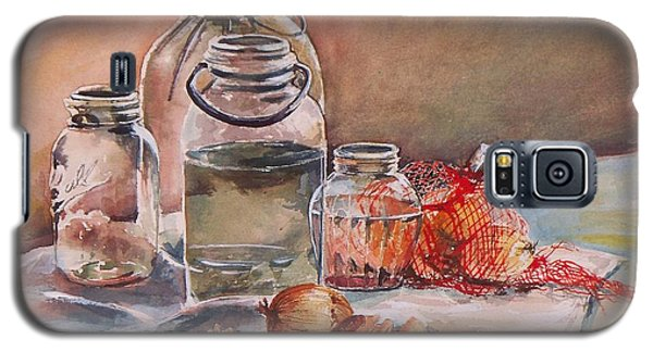 Galaxy S5 Case featuring the painting Canning Jars And Onions by Joy Nichols