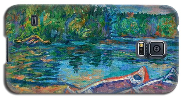 Canoes At Mountain Lake Sketch Galaxy S5 Case