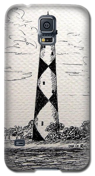 Galaxy S5 Case featuring the drawing Cape Lookout Lighthouse Nc by Julie Brugh Riffey