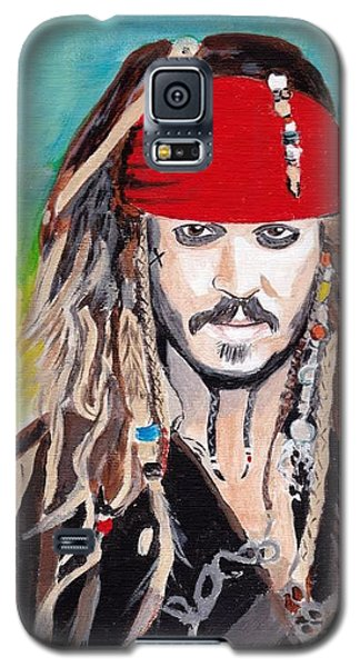 Galaxy S5 Case featuring the painting Cap'n Jack Sparrow by Audrey Pollitt