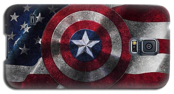 Captain America Shield On Usa Flag Galaxy S5 Case by Georgeta Blanaru