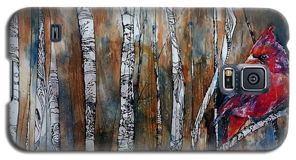 Galaxy S5 Case featuring the painting Cardinal In Birch Tree Forest by Christy  Freeman