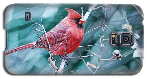 Galaxy S5 Case featuring the painting Cardinal In Winter by Joshua Martin