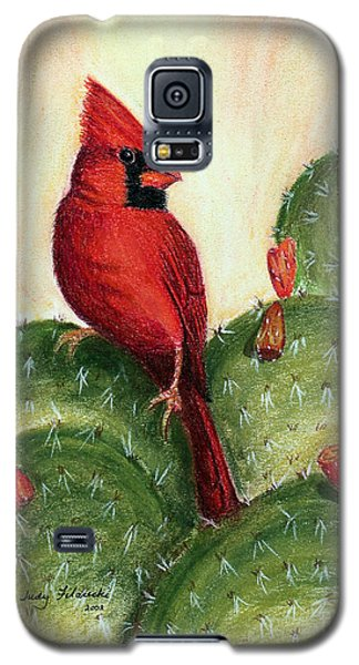 Galaxy S5 Case featuring the painting Cardinal On Prickly Pear Cactus by Judy Filarecki