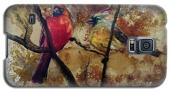 Galaxy S5 Case featuring the painting Cardinal Redbird Couple by Christy  Freeman
