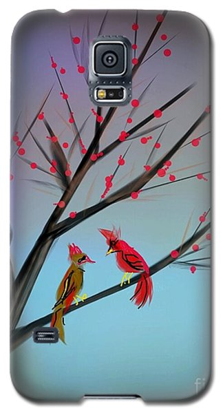 Cardinals In The Flowering Crab Galaxy S5 Case by Judy Via-Wolff