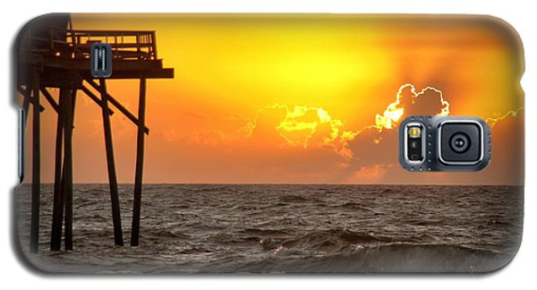 Galaxy S5 Case featuring the photograph Carolina Beach Fishing Pier Sunrise by Phil Mancuso