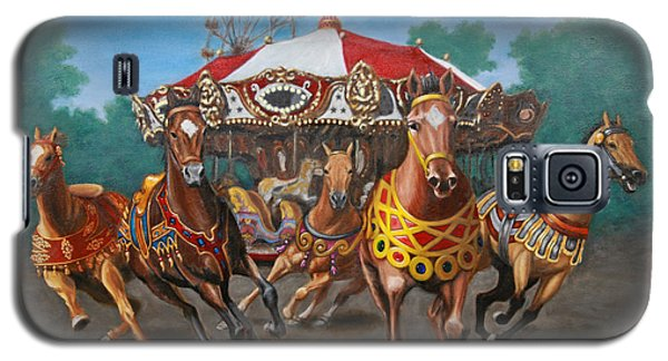 Galaxy S5 Case featuring the painting Carousel Escape At The Park by Jason Marsh