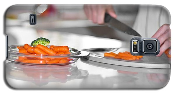 Galaxy S5 Case featuring the photograph Carrot Cutting In Kitchen by Gunter Nezhoda