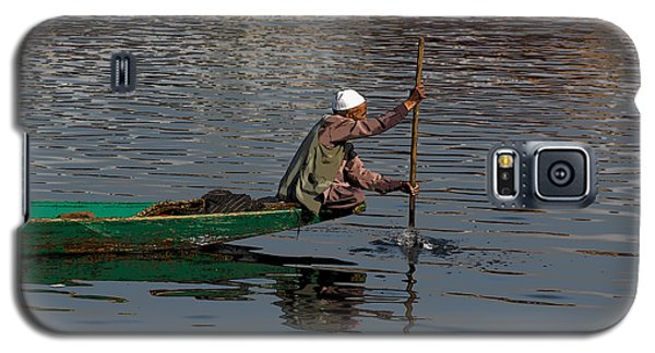 Cartoon - Man Plying A Wooden Boat On The Dal Lake Galaxy S5 Case