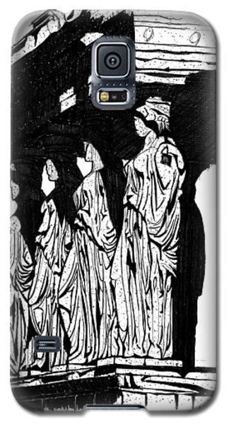 Galaxy S5 Case featuring the drawing Caryatids In High Contrast by Calvin Durham