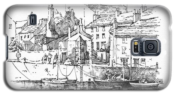 Galaxy S5 Case featuring the drawing Castletown Harbour by Paul Davenport