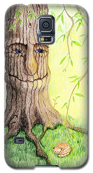 Galaxy S5 Case featuring the drawing Cat And Great Mother Tree by Keiko Katsuta