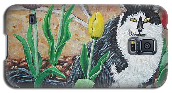 Cat By The Tulips  Galaxy S5 Case