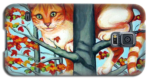 Orange Cat In Tree Autumn Fall Colors Galaxy S5 Case