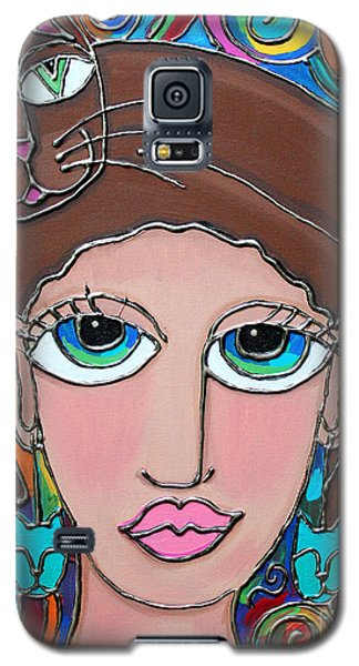 Cat Lady With Brown Hair Galaxy S5 Case