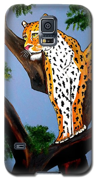 Galaxy S5 Case featuring the painting Cat On A Hot Wood Tree by Nora Shepley