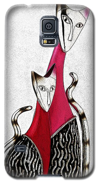Galaxy S5 Case featuring the drawing Catcat by Selke Boris