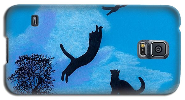 Galaxy S5 Case featuring the drawing Cats -  Playing by D Hackett