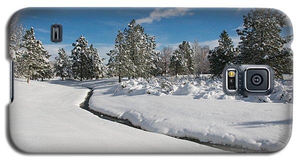Galaxy S5 Case featuring the photograph Caughlin Creek Snowfall by Vinnie Oakes