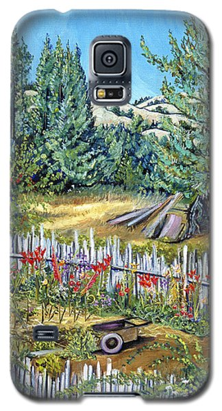 Galaxy S5 Case featuring the painting Cazadero Farm And Flowers by Asha Carolyn Young