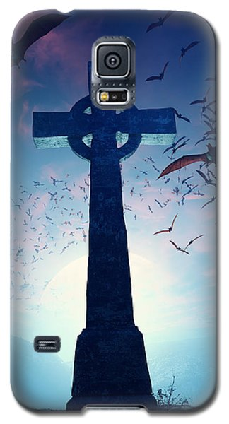 Bat Galaxy S5 Case - Celtic Cross With Swarm Of Bats by Johan Swanepoel