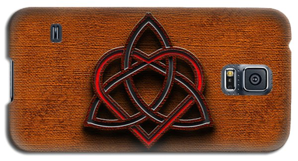 Galaxy S5 Case featuring the digital art Celtic Knotwork Valentine Heart Canvas Texture 1 Horizontal by Brian Carson