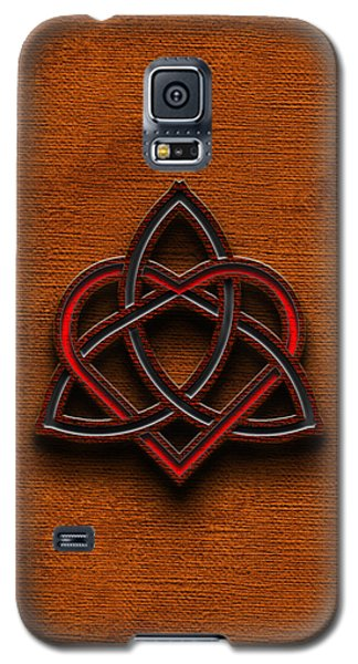 Galaxy S5 Case featuring the digital art Celtic Knotwork Valentine Heart Canvas Texture 1 Vertical by Brian Carson