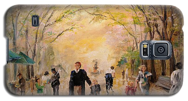 Galaxy S5 Case featuring the painting Central Park Early Spring by Alan Lakin