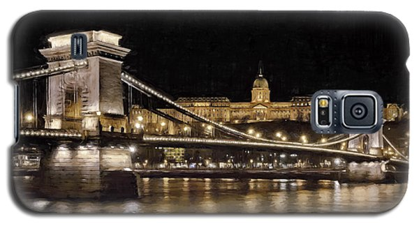 Chain Bridge And Buda Castle Winter Night Painterly Galaxy S5 Case