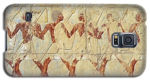 Galaxy S5 Case featuring the relief Chapel Of Hathor Hatshepsut Nubian Procession Soldiers - Digital Image -fine Art Print-ancient Egypt by Urft Valley Art