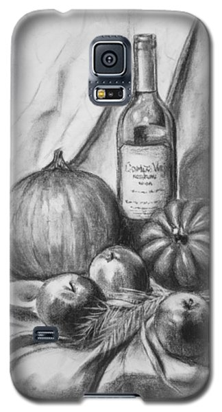 Galaxy S5 Case featuring the drawing Charcoal Still Life Harvest by Dee Dee  Whittle