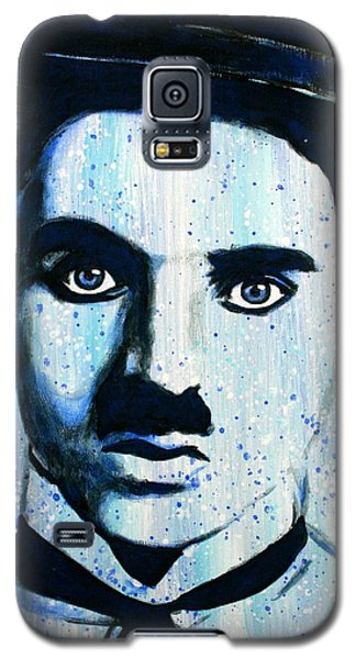 Galaxy S5 Case featuring the painting Charlie Chaplin Little Tramp Portrait by Bob Baker