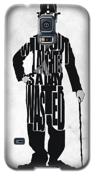 Charlie Chaplin Typography Poster Galaxy S5 Case by Ayse Deniz
