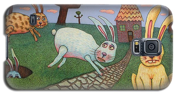 Rabbit Galaxy S5 Case - Chasing Tail by James W Johnson