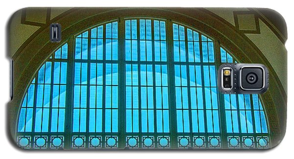Galaxy S5 Case featuring the photograph Chattanooga Train Depot Stained Glass Window by Susan  McMenamin