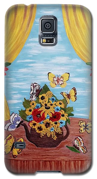 Galaxy S5 Case featuring the painting Cheerful Butterflies by Jasna Gopic