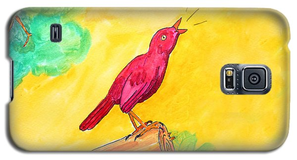 Cheerful Red Bird In A Tree Galaxy S5 Case