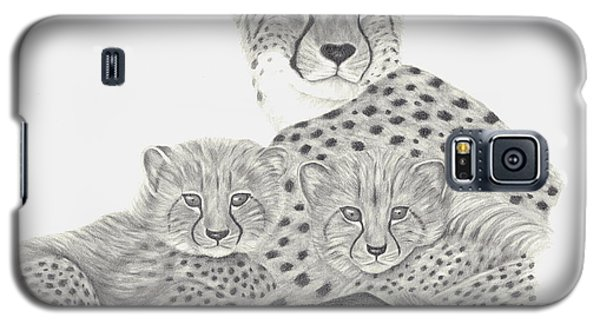 Galaxy S5 Case featuring the drawing Cheetah And Her Cubs by Patricia Hiltz