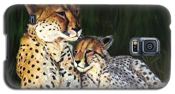 Galaxy S5 Case featuring the painting Cheetahs by LaVonne Hand