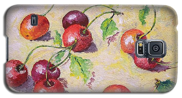 Galaxy S5 Case featuring the painting Cherries On The Ground by Kathleen Pio