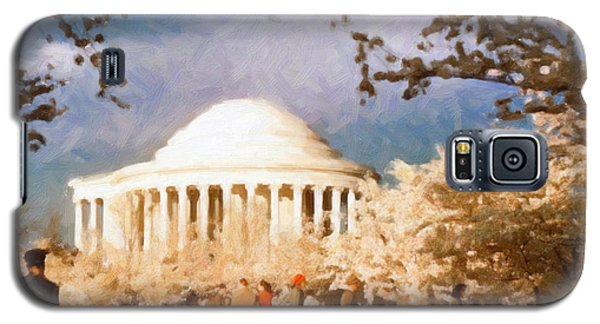 Cherry Blossom Jefferson Memorial 1950s Galaxy S5 Case by Spyder Webb