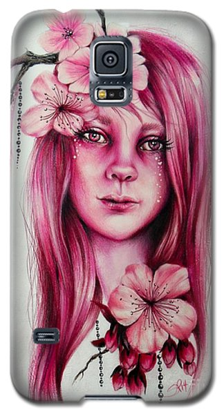 Galaxy S5 Case featuring the drawing Cherry Blossom by Sheena Pike