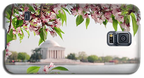 Galaxy S5 Case featuring the photograph Cherry Blossoms And The Jefferson Memorial Panorama by Mitchell R Grosky