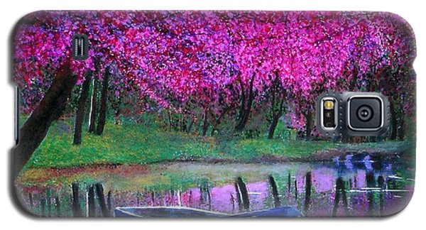 Galaxy S5 Case featuring the painting Cherry Blossoms By The Lake by Marie-Line Vasseur