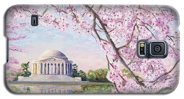 Washington D.c Galaxy S5 Case - Jefferson Memorial Cherry Blossoms by Patty Kay Hall