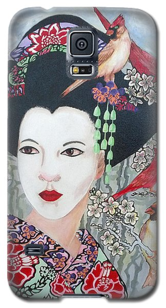 Galaxy S5 Case featuring the painting Cherry Blossoms by Suzanne Silvir