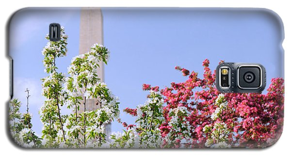Cherry Trees And Washington Monument Four Galaxy S5 Case by Mitchell R Grosky