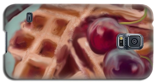 Galaxy S5 Case featuring the painting Cherry Waffles by Jean Pacheco Ravinski