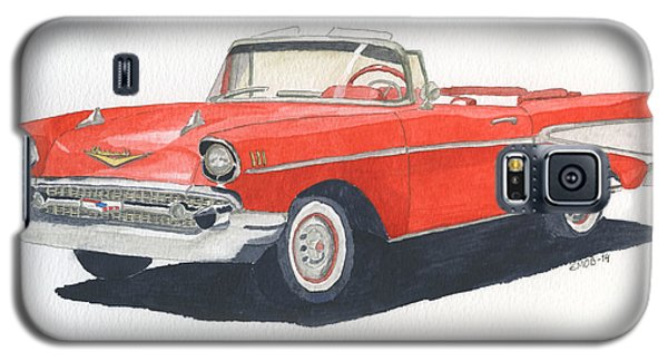 Galaxy S5 Case featuring the painting Chevy Bel Air Convertible 57 by Eva Ason